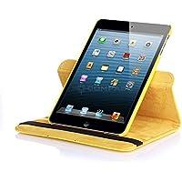 NUEVO diseño amarillo Piel Sintética Rotación de 360° Smart Stand Funda para iPad Mini 4
