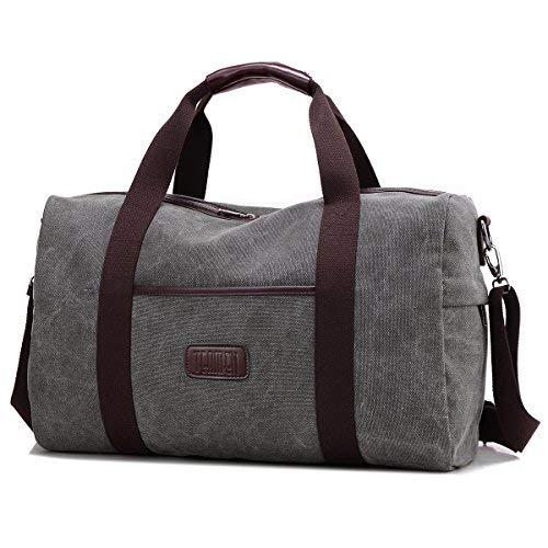 Weekender Bag Reisetasche TEAMEN Sporttasche Handtasche Canvas PU Leder Tasche Umhängetasche Schultertasche Henkeltasche 20L für Einkaufen Reisen Arbeit und Schule (grau)