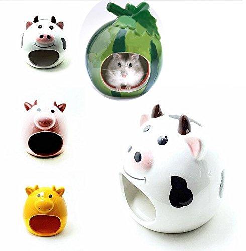Small Animal Hideout Ceramic House Critter Bath House Cave Mini Hut Cage for Chinchilla Hamster (ORANGE) 3