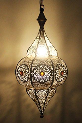 Orientalische Lampe Pendelleuchte Silber Elif 53cm E27 Lampenfassung | Marokkanische Design Hängeleuchte Leuchte aus Indien | Orient Lampen für Wohnzimmer, Küche oder Hängend über den Esstisch (Nicht-eisen-stoff)