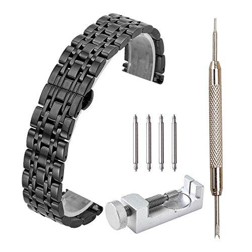 JSDDE Metallarmband Edelstahl Uhrenarmband Uhrenarmbänder Uhrband Watch Strap mit Faltschließe Federstege Federstift,Schwarz 20mm