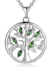 JO WISDOM Tree of Life Necklace,925 Sterling Silver Family Tree Coin Pendant Necklace