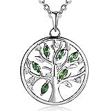 JO WISDOM Halskette Baum Des Lebens,kette anhaenger silber 925 Smaragd grün baum des lebens Anhänger Halskette,Damen Schmuck,kette: 45-50CM