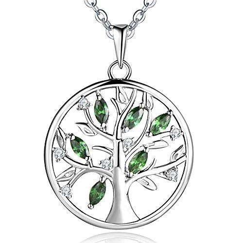 JO WISDOM Collar Colgante Arbol de la vida Yggdrasil Plata de ley 925 verde esmeralda Piedra de nacimiento de mayo mujer joyería