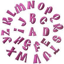 Shoppy Star - Parches Bordados con Letras inglesas Rojas y Rosas para Ropa, Accesorios de