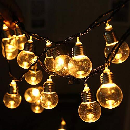 OOFAY Led Lichterkette, 5.8Meters Globus Schnur Licht mit 20 Glühbirnen Innen/Außen Hängendes Licht String für Patio, Café Bars, Garten Hinterhof Gazebos Pergola Dekoration, Warmweiß,110V
