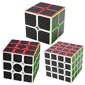 Puzzle Cubes 3 Pezzi 2x2x2 + 3x3x3 + 4x4x4 Coolzon® Magico Cubo con Adesivo in Fibra di Carbonio Nuovo Velocità