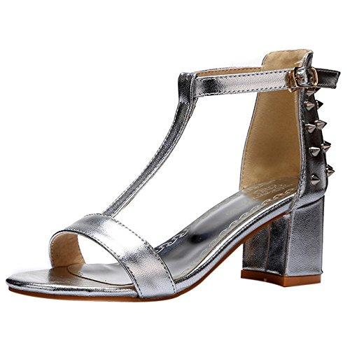 COOLCEPT Damen Mode T-Spangen Sandalen Open Toe Blockabsatz Schuhe Silber