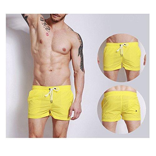 Estate Maschio Veloci Moda Tempo Libero Sport Fitness Mare Costume Da Bagno Marea Sexy Pantaloncini Da Spiaggia Yellow