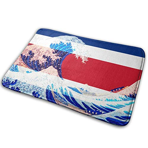 Doormat Costa Rica Flag and Wave Off Kanagawa Non Slip Door Mat For Indoor and Outdoor 19.7 X 31.5 IN