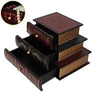 Jewelry Box, Art Retro Book Shape Storage Drawers Box Craft Table Decoration Jewelry Box 3 Drawers Makeup Cosmetics Organize