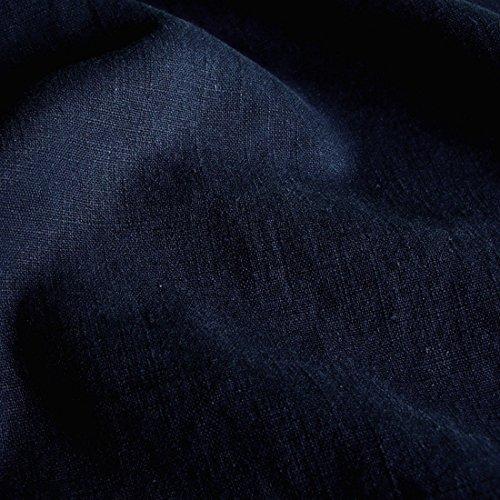 Baumwolle Stoff Blau (TOLKO Leinen-Stoff Meterware zum Nähen, blickdichter Naturstoff für Bekleidung, Gewänder, Vorhänge und Deko (Nacht-Blau))