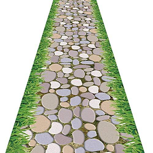 SESO UK- Lange Teppich-Läufer für Halle Flur & Treppen, Pastoral Design Zuhause Teppich Läufer, Steinstraße Muster (Size : 60×400cm) -