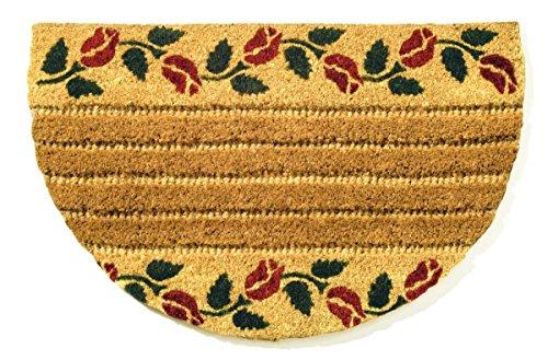 Faba Home Kokos Fußmatte Kokosvelour Rippenmatte, halbrund, Schmutzfang, sehr robust, wetterfeste Türmatte, Fußabtreter, Blütenranke, ca 75 x 45 cm