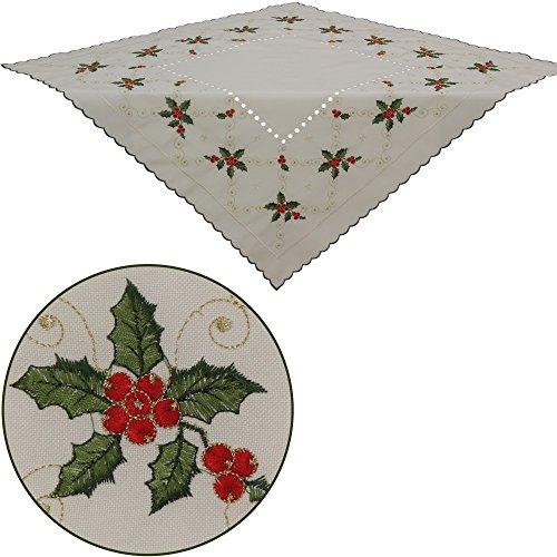 quinnyshop Inverno Bacche tavolo Overlay tavolo topper 34-inch-by-34-inch/85x 85cm, effetto lino, colore: Ecru