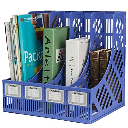 Almand Multipurpose 4 Sections Plastic Storage Section Divider File Paper Document Magazine Literature Tray Sorter Collection Rack Holder Wall Mounted FC Size Table Top Organizer Book Shelf XL- Multi (4 sec, tray)