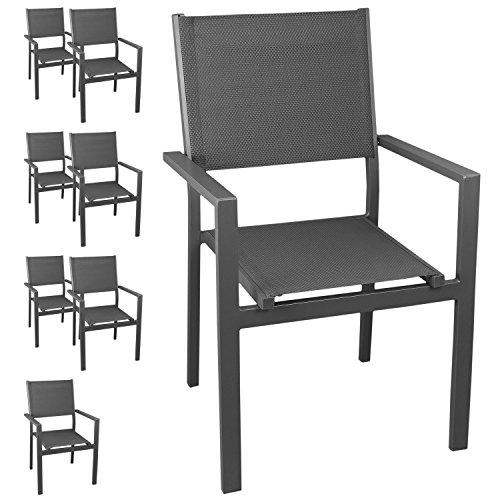 8 Stück Aluminium Gartenstuhl Stapelstuhl mit hochwertiger 4x4 Textilenbespannung, stapelbar, grau/grau - Gartensessel Bistrostuhl Stapelsessel Sitzmöbel Gartenstühle Balkonmöbel Gartenmöbel Terrassenmöbel