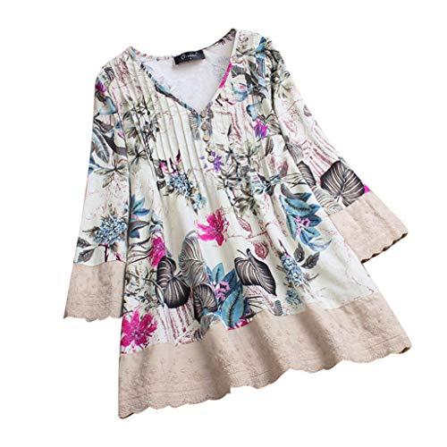 iHENGH Damen Herbst Winter Bequem Mantel Lässig Mode Jacke Frauen Frauen mit Langen Ärmeln Vintage Floral Print Patchwork Bluse Spitze Splicing Tops(Rosa, 2XL) -