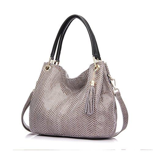 Realer Borse in pelle formale progettista del cuoio genuino e borse per le donne con borsa a tracolla della nappa Ufficio Grigio