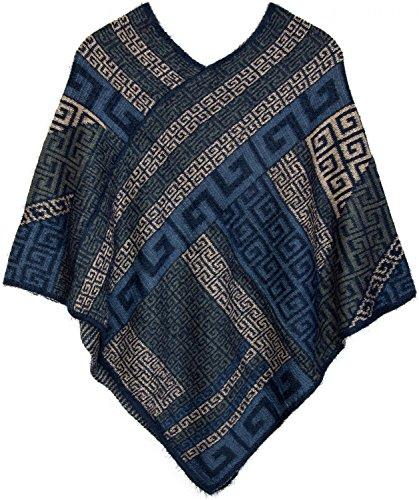 styleBREAKER Poncho mit Meander Ornament Muster, weich und fransig, V-Ausschnitt, Damen 08010037, Farbe:Dunkelblau-Blau-Grau-Beige (Inka Jacken Blau)