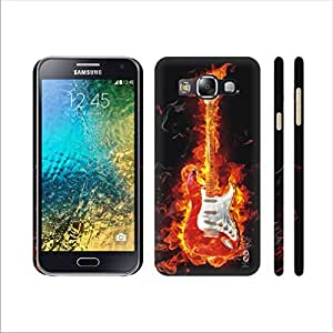Heartly Guitar Printed Designer Thin Hard Bumper Back Case Cover For Samsung Galaxy E5 SM-E500F - Orange Red