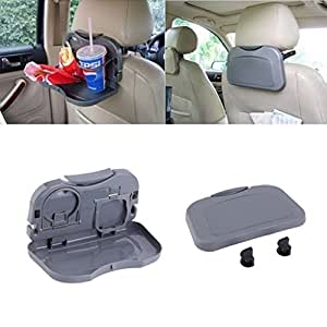 Trustway TD-02 Car Backseat Portable Travel Dining Tray with Cup Holder High Quality Grey for Mahindra Bolero Mod 3