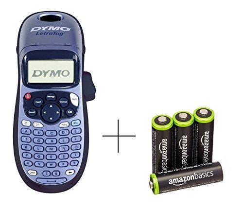 Dymo LetraTag LT-100H Etikettendrucker Handgerät mit AmazonBasics Vorgeladene Ni-MH-Akkus, AA