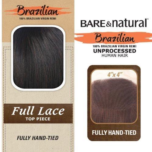 Bare & Natural Unprocessed Brazilian Remi Full Lace Top Piece 12 (12, Natural Black) by Sensationnel
