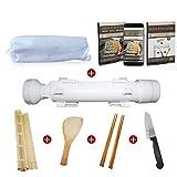 Appareil à sushis et makis Kikatou - Kit Sushi Bazooka facile - Pack 6EN 1: 1 couteau Japonais Santoku + 2 Paires de baguettes + 1 Natte en bambou + 1 Cuillère en bambou - Offert: Notice d'utilisation + Ebook de recettes