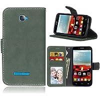 Funda Alcatel One Touch Pop C7 7041A 7040D ,Bookstyle 3 Card Slot PU Cuero cartera para TPU Silicone Case Cover(Verde)