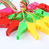 days off colorful noisemakers whistle bulk toy with lanyards for party sports (pack of 12)- Multi color