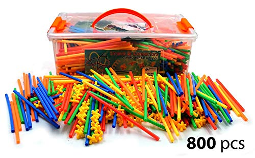 Playlearn 800 Piece Straws and Connector set. Extra large kit with Special Pieces.