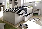 AVANTI TRENDSTORE - Luca - Struttura letto singolo con cassetto salvaspazio in laminato di pino bianco/tartufo, in stile Vintage. Dimensioni: LAP 95x57x210 cm