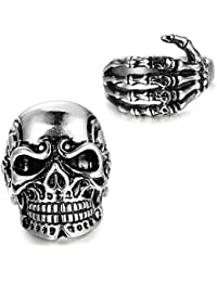 Milacolato 2pcs Stainless Steel Vintage Gothic Rings for Men Women Skull Head/Skull Hand Bone Rings