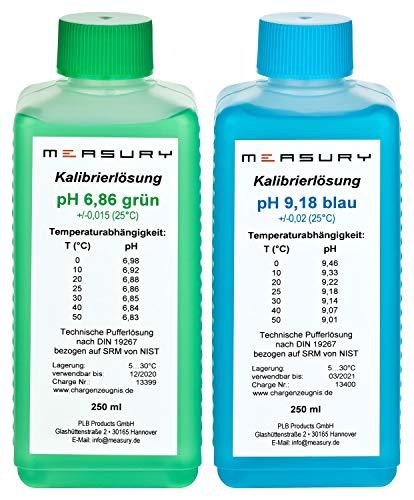 Measury pH Kalibrierlösung 6.86 und 9.18, pH Pufferlösung je 250ml, Eichlösung Grün/Blau, Kalibrierflüssigkeit Set Eichflüssigkeit -