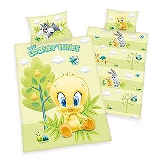 3 tlg. Baby Bettwäsche Wende Motiv: Baby Looney Tunes mit Tweety Silvester Bugs - Renforcé 100x135 cm + 40x60 cm + 1 Spannbettlaken in weiß 70x140 cm