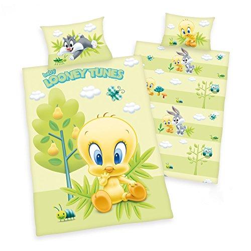 che Wende Motiv: Baby Looney Tunes mit Tweety Silvester Bugs - Renforcé 100x135 cm + 40x60 cm + 1 Spannbettlaken in weiß 70x140 cm (Silvester Baby)
