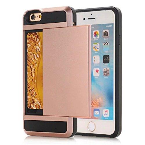 iPhone 7 Coque,Lantier [Doux TPU Bumper+dur PC] résistant aux chocs à double couche Armure Wallet Etui de protection Defender avec porte-cartes pour Apple iPhone 7 (4,7 pouces) 2016 Noir Rose Gold
