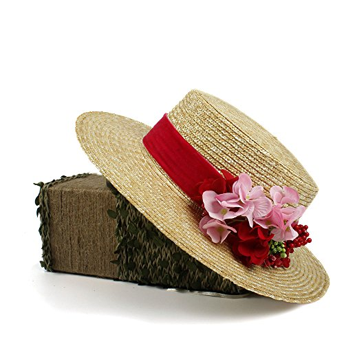 XHD-Sombreros 2018 nuevo sombrero rojo sol boater paja para mujeres sombrero  de. 5f0d550d089c