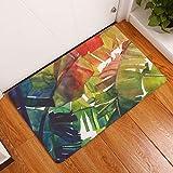 Nunbee Paillasson Impression Designe Tapis de Sol antidérapant extérieur d'entrée Interieur Fibre de Coco Geek Chat Chouette cerf Multicolore, Feuilles 9 50 * 80cm