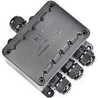 ATPWONZ Caja de Conexiones IP66 del Conector Exterior de 4 Vías Cable de la Caja de Empalmes M16 Glándula Cable Ø 5 mm - 10 mm ( Negro)