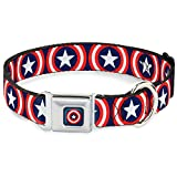Buckle Down Cab Captain America Shield Navy Hundehalsband
