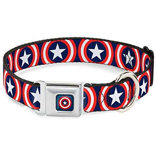 (Buckle Down Cab Captain America Shield Navy Hundehalsband)