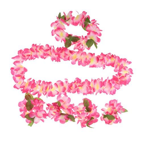 MagiDeal Costume 80cm Gonna Dell'erba Giacca Dell'erba Fascia Braccialetto Di Hula Hawaiian Donne Ragazze Rosa