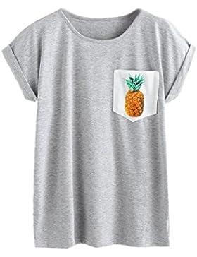 ❤️ Camiseta Casual Para Mujer, Camiseta de Algodón con Estampado de Piña de Fashion Tops de Manga Corta Absolute