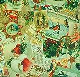 Textile London Digital Bedruckter Stoff Vintage Weihnachten Postkarten Weihnachten Baumwolle Stoff Meterware