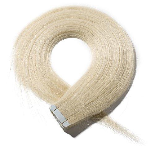 Extension biadesive capelli veri con biadesivo 20 fasce adesive tape extensions bionde 40g 100% remy human hair lisci 30cm con adesivi di ricambio - #60 biondo platino