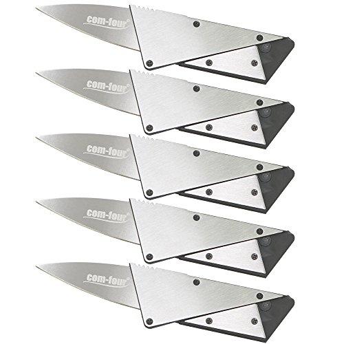 com-four® 5X Kreditkarten Messer in silberfarben, Taschenmesser mit Stahl Verstärkung...