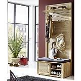 Garderoben Set GO258 (San Remo Eiche, 2-tlg) Breite 90 cm, Garderobenbank + Garderobenpaneel