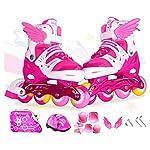 Sumeber Inline Skates Kids Inliners Roller Skates Roller Blades 4 wheels flash Childrens Inline Skates Adjustable Shoe Size for Girls Boys (Pink, M(EU 35-38 UK 2.5-5))